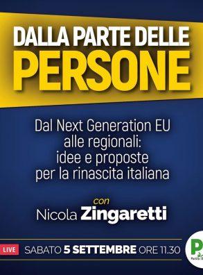 Dalla parte delle persone. Live con Nicola Zingaretti Sabato 5 settembre ore 11,30