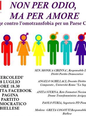 PD Biellese. Non per odio ma per amore. Con Monica Cirinnà. Live Fb (8 luglio 2020 ore 18,30)