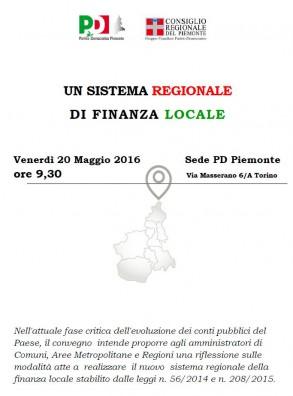"""Convegno """"Un sistema regionale di Finanza locale"""". Torino, 20 maggio 2016"""