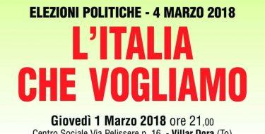 """01/03 Villar Dora. Magda Zanoni e Mauro Maria Marino all'incontro """"L'Italia che vogliamo"""""""