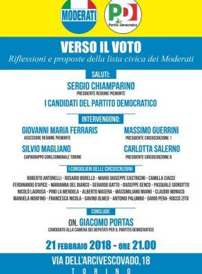21/02 Torino. Verso il voto. Riflessioni e proposte della lista civica dei Moderati. Con On. Giacomo Portas