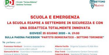 PD Settimo Torinese. Live Fb su Scuola ed emergenza con Francesco Verducci (25/06/2020 h 19,00)