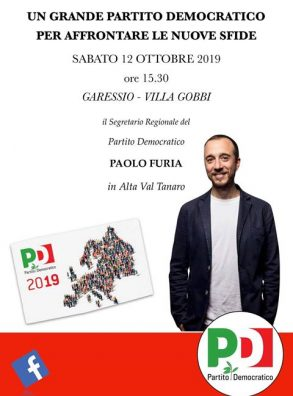 UN GRANDE PARTITO DEMOCRATICO PER AFFRONTARE LE NUOVE SFIDE. INCONTRO CON PAOLO FURIA – GARESSIO, 12 OTTOBRE