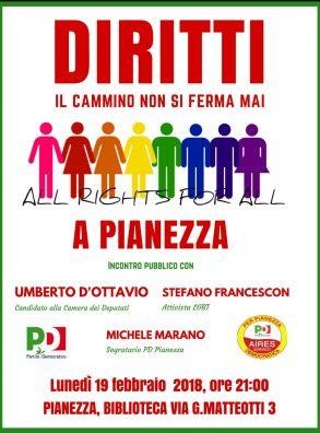 """19/02 Pianezza. Umberto d'Ottavio all'iniziativa """"Diritti, il cammino non si ferma mai"""""""