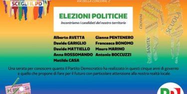23/02 Chieri. Incontro con i candidati del territorio Avetta, Gariglio, Mattiello, Rossomando, Casa, Pentenero, Bonomo, Marino, Boccuzzi