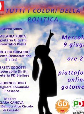 """9/6 – ore 21,00  – """"Tutti i colori della politica"""" – genere, femminismi e cultura della diversità nella pratica politica"""