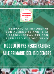 Primarie 16 dicembre: modulo di pre-registrazione riservato ai minorenni con almeno 16 anni e ai cittadini stranieri con permesso di soggiorno