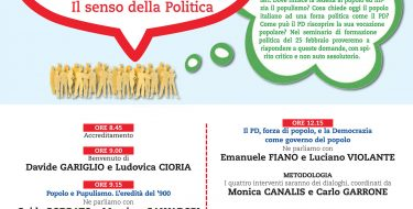 """Seminario di Formazione Politica """"Popolo. Il significato della parola.Il senso della politica"""""""