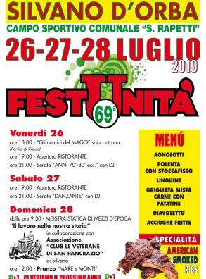 FESTA DE L'UNITA' DI SILVANO D'ORBA (26-28 LUGLIO 2019)