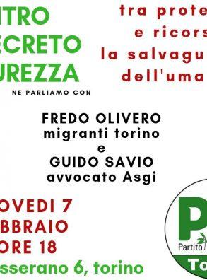 """PD Torino, incontro """"Contro il Decreto Sicurezza, tra proteste e ricorsi, per la salvaguardia dell'umanità."""""""