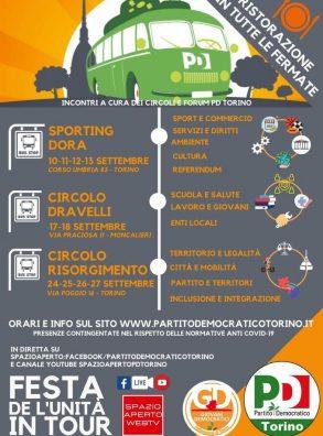 Partito Democratico Torino. Parte la Festa de L'Unità in tour (inaugurazione 10 settembre)