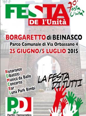 FESTA DE L'UNITA' – BEINASCO (25 giugno – 5 luglio 2015)
