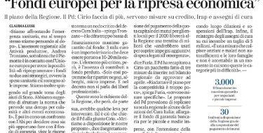 Le proposte del PD e del Gruppo Regionale per la liquidità delle imprese e le famiglie