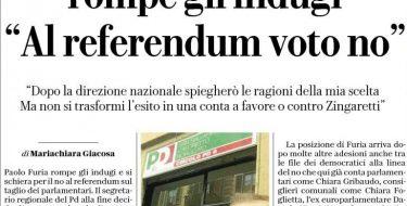 """Pd, il leader regionale rompe gli indugi """"Al referendum voto no"""""""