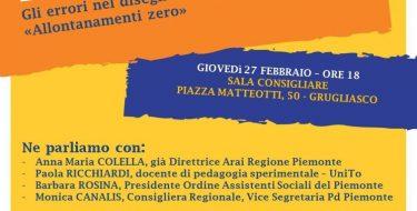 """ANNULLATO – 27/02 GRUGLIASCO. INCONTRO PUBBLICO """"DALLA PARTE DEI BAMBINI E DELLE FAMIGLIE"""""""