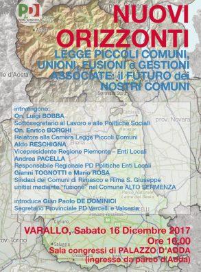 """PD Vercelli. Incontro su """"NUOVI ORIZZONTI Legge Piccoli Comuni, unioni, fusioni e gestioni associate: il futuro dei nostri Comuni"""""""