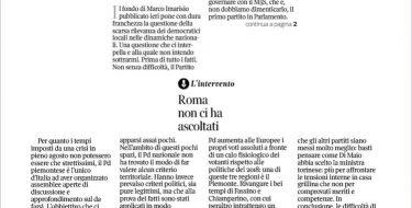Roma non ci ha ascoltati – Intervento di Paolo Furia sul Corriere