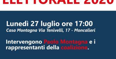 Amministrative 2020 a Moncalieri. Per Paolo Montagna Sindaco – Presentazione programma elettorale (27 luglio 2020 ore 17,00)