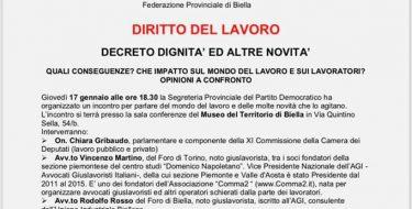 """PD Biella – Diritto del lavoro. Incontro su """"decreto dignità e altre novità"""""""