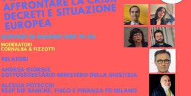 """PD Carpignano Sesia. Live Fb """"Provvedimenti per affrontare la crisi, decreti e situazione europea"""". Con Andrea Giorgis (18 giugno 2020 h 19,00)"""