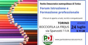 PD Torino. Forum istruzione e formazione professionale (24 luglio 2020 ore 17,30)