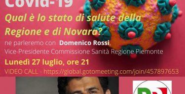 Emergenza Covid-19. Qual è lo stato di salute della Regione e di Novara (27 luglio 2020 ore 21 in diretta streaming)