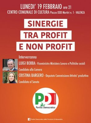 """19/02 Valenza. Incontro su """"Sinergie tra profit e non Profit"""". Con Luigi Bobba, Cristina Bargero"""