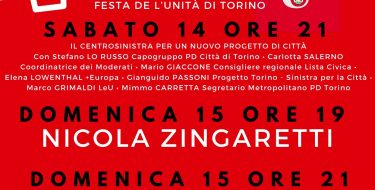 FESTA DE L'UNITÀ DI TORINO – GLI APPUNTAMENTI DEL WE (14-15 SETTEMBRE)